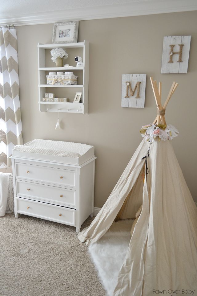 Neutral Nursery featuring a beige/cream color palette and fab play teepee!