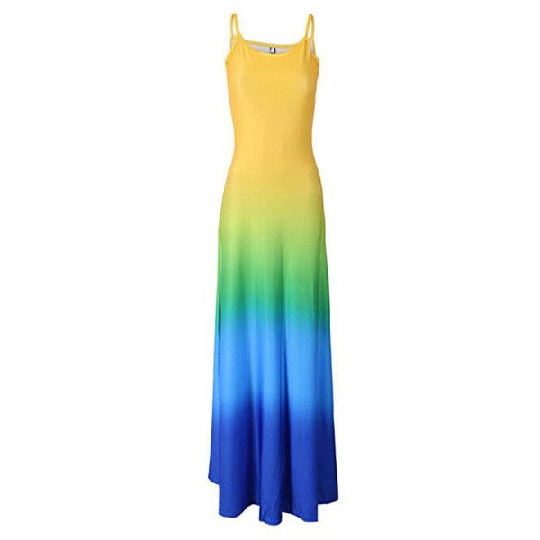 Women's Long Gradient Sleeveless Summer Beach Maxi Dress ($9.99) ❤ liked on Polyvore featuring dresses, blue, blue dress, summer maxi dresses, blue maxi dress, sleeveless maxi dress and long dresses