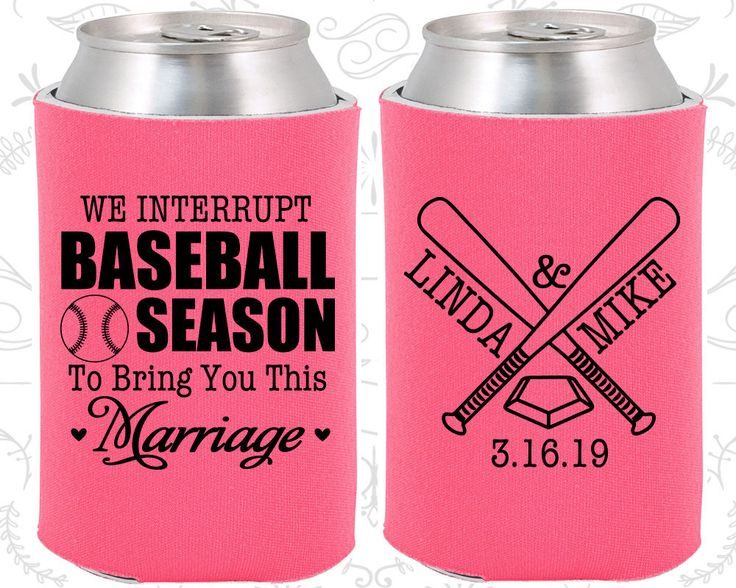 We interrupt Baseball Season to Bring you this Marriage, Personalized Favors, Baseball Wedding Favors, Sports Wedding Favors,  Koozies (313)