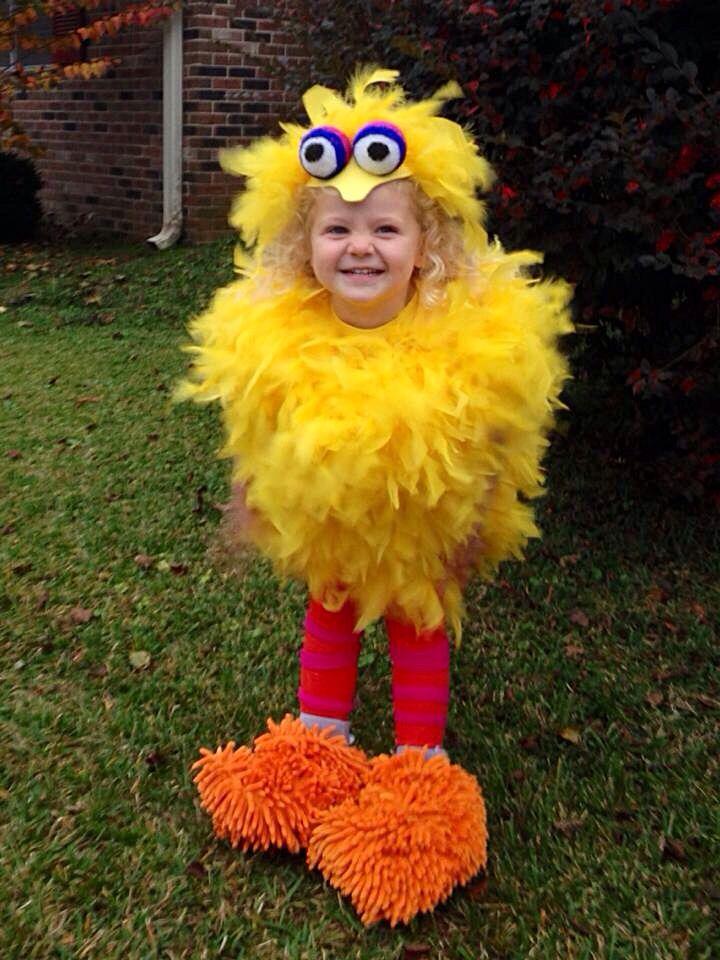 Homemade Big Bird costume. Tooo darn cute!!! - Moskito mit Sieb vor Augen - Zuckerle mit durchsichtiger Folie um Kopf als Zuckerle geformt