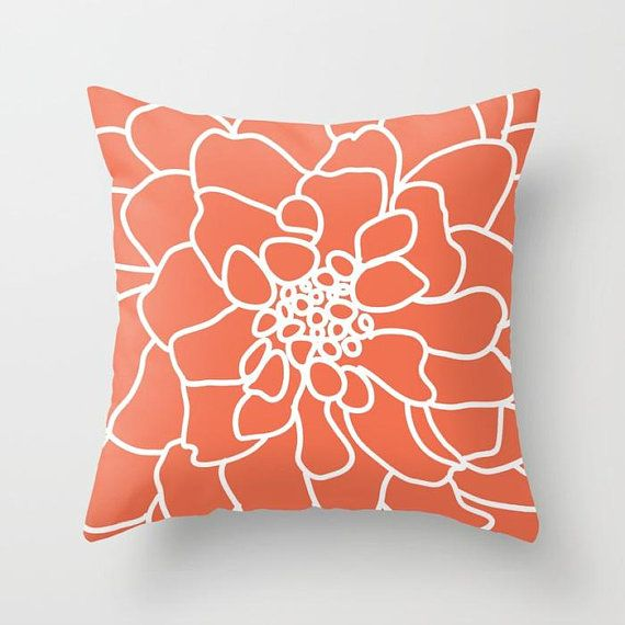 Flower Pillow Flower Throw Pillow Coral Flower Pillow With