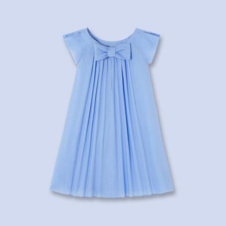 Fancy smocked bow back dress - Girl - ALIZE BLUE - Jacadi Paris