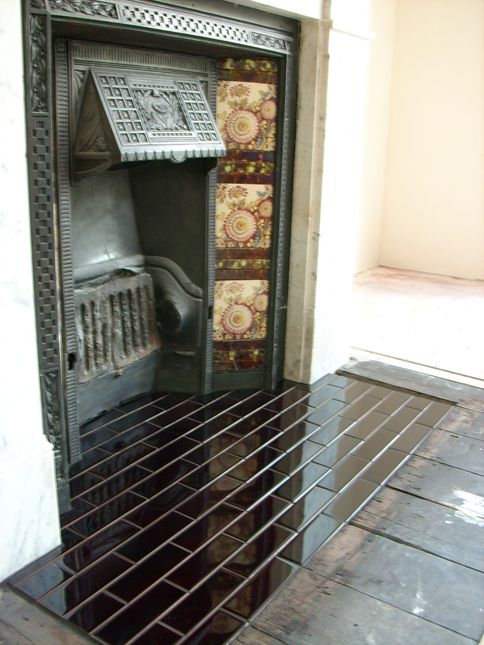 Victorian fireplace hearth tiling, stunning