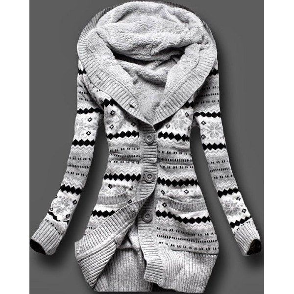 Stylish Hooded Long Sleeve Geometric Single-Breasted Women's Cardigan | TwinkleDeals.com