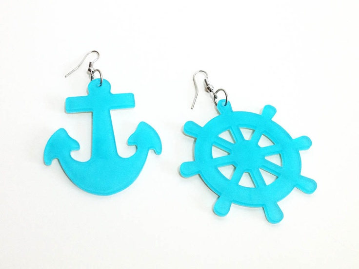 Aqua Blue Sailor Nautical Anchor and Ship Steering Helm Earrings - Spring Summer Special. $4.99, via Etsy.