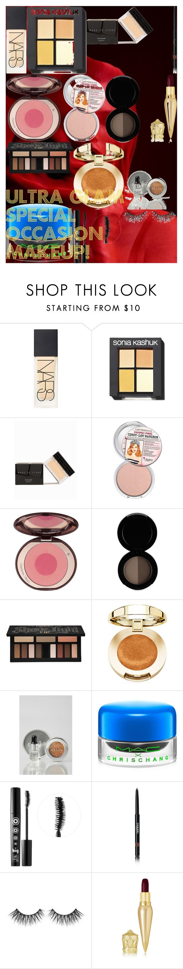 ULTRA GLAM Special Occasion Makeup! by oroartye-1 on Polyvore featuring beauty, Christian Louboutin, Charlotte Tilbury, Kat Von D, NARS Cosmetics, Stila, MAKE UP STORE, Ardency Inn, Huda Beauty and Chanel