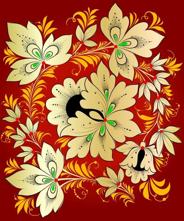 Folk Khokhloma painting from Russia. Pattern with leaves and two flowers. #art…