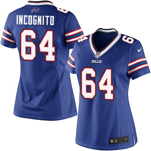Nike Limited Richie Incognito Royal Blue Women's Jersey - Buffalo Bills #64 NFL Home