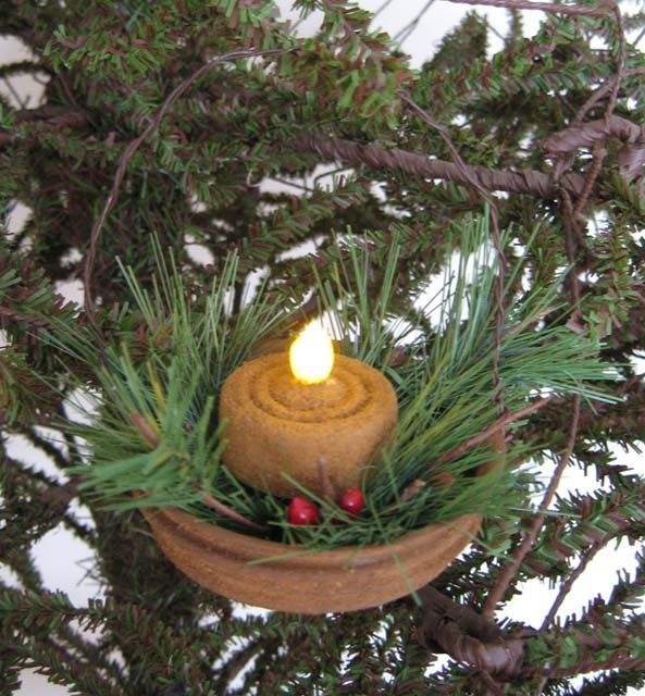 Ornament using a flicker light from Country at Heart - Hand-Crafted Primitive Dolls, Folk Art, Christmas and Halloween