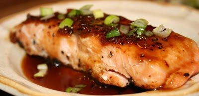 Simple pan seared salmon is drizzled with a sauce of honey, ginger, soy and wasabi, adding just a bit of heat and lots of flavor.