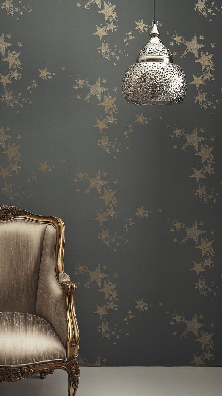 All Star Wallpaper in Gunmetal. Would like something like this in the living room alcove, behind the sideboard and shelves (walnut, mid-dark wood).