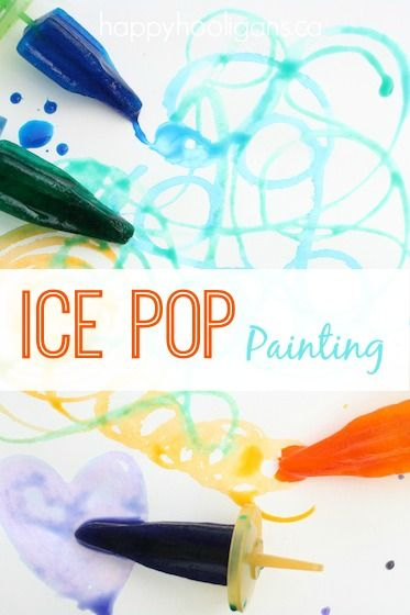 Ice Pop Painting: painting with coloured ice.  A fun summer activity for toddlers and preschoolers - Happy Hooligans for KAB