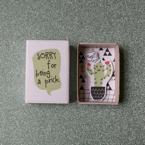 Funny Apology Card Cute Little Cactus Sorry For by PINSandPUNSco