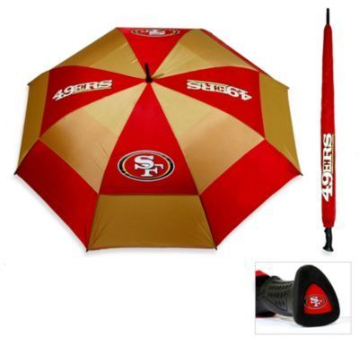 $26.99 - NFL San Francisco 49ers Golf Umbrella - Keep dry during bad weather and display your team pride with this great football-themed umbrella. This double-canopy umbrella is tough and has a heavy-duty construction. The umbrella features your favorite football team's colors and logo.