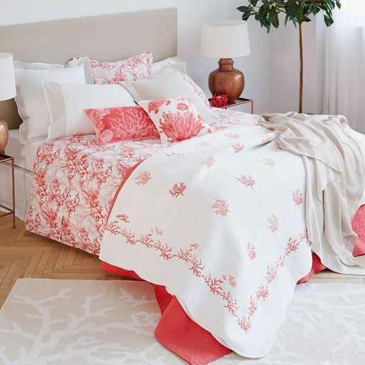 Image of the product WAVY EDGE CONTRASTING CORAL EMBROIDERED CUSHION COVER AND QUILT