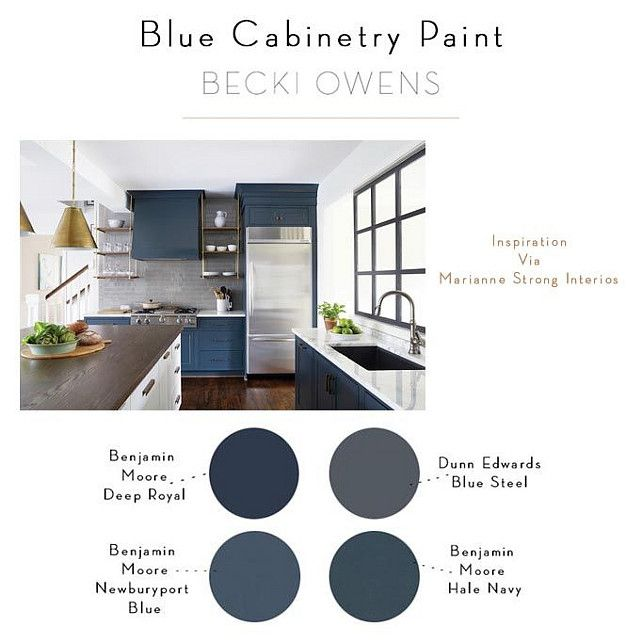 Benjamin Moore Starts A Trend With Stenciled Kitchen: Blue Cabinet Paint Color. Blue Kitchen Trend. Blue Kitchen