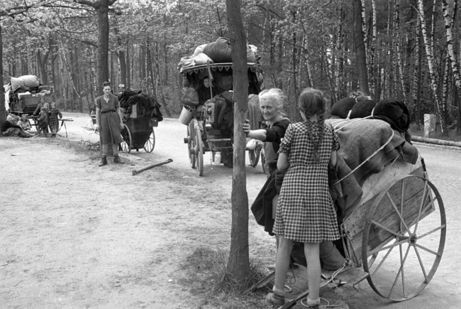 The winter of 1945-1946 was very difficult. Germans were forcibly ejected from their home in eastern Germany because that part of the country now belonged to Poland. This photo shows displaced German women and children, travelling to the west with their belongings. For an eyewitness account, visit: www.elinorflorence.com/blog/berlin-battle.