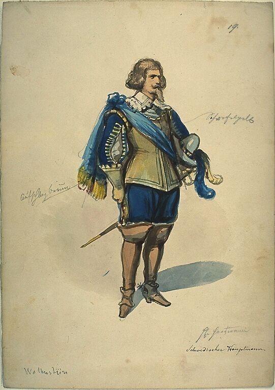 Kostümentwurf für die Figur eines schwedischen Hauptmannes aus 'Wallenstein' von Friedrich von Schiller | Franz Gaul | Bildindex der Kunst & Architektur