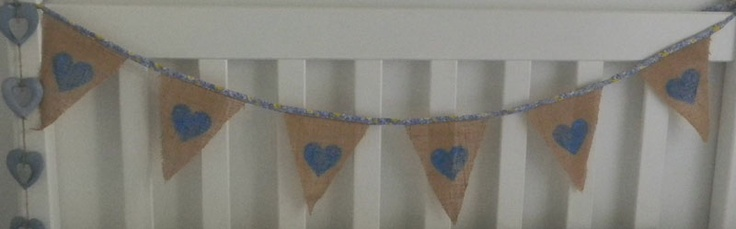 Hessian painted hearts