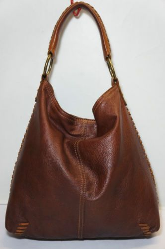 lucky brand brown leather slouchy hobo tote shoulder bag. Black Bedroom Furniture Sets. Home Design Ideas