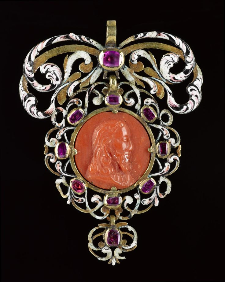 Pendant of gold, enamelled and set with rubies, amethysts and a coral cameo with the bust of Christ on one side and the Virgin on the other: coral Sicily, 17th century, mount France or Italy, mid-17th century