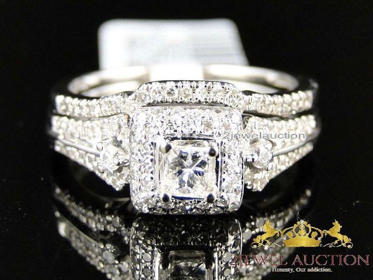 Popular Ladies K White Gold Diamond Engagement Ring Princess Wedding Band Bridal Set