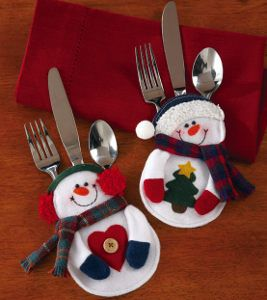 Enter to win a set of Snowman Silverware Holders from Collections Etc with AllFreeHolidayCrafts.