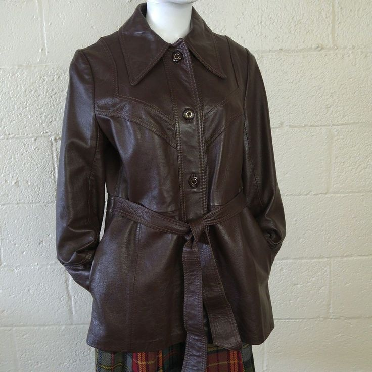 Vtg Dark Brown Leather Coat Ladies Belted Jacket Hippie Festival Boho Fashion  #PacificGarment #Casual
