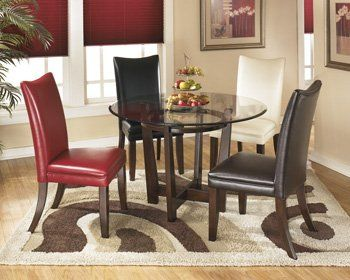 Signature Design By Ashley D357 15 Charrell Collection Dining Room Table Medium Brown Wood TablesKitchen