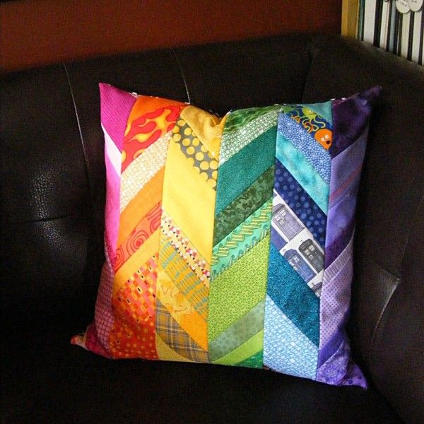 Scrappy Rainbow Pillow from a pattern in Quilting Happiness by Diane Gilleland and Christina Lane @ Shiny Happy World