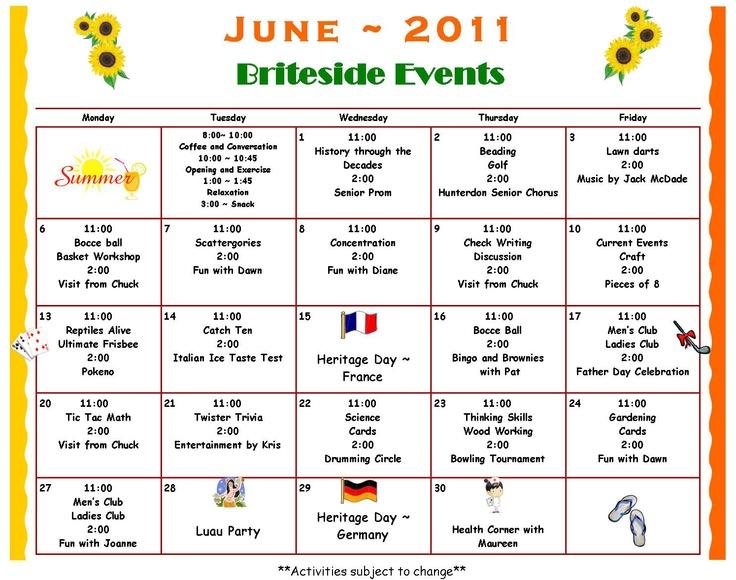 Calendar Ideas For Elderly : Activity calendar britesideadultdaycenter other