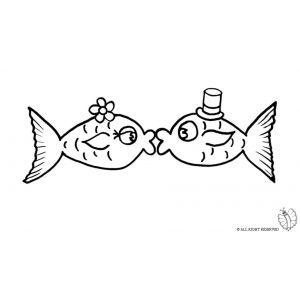 Disegno di pesci innamorati da colorare disegni di for Disegni di pesci da stampare