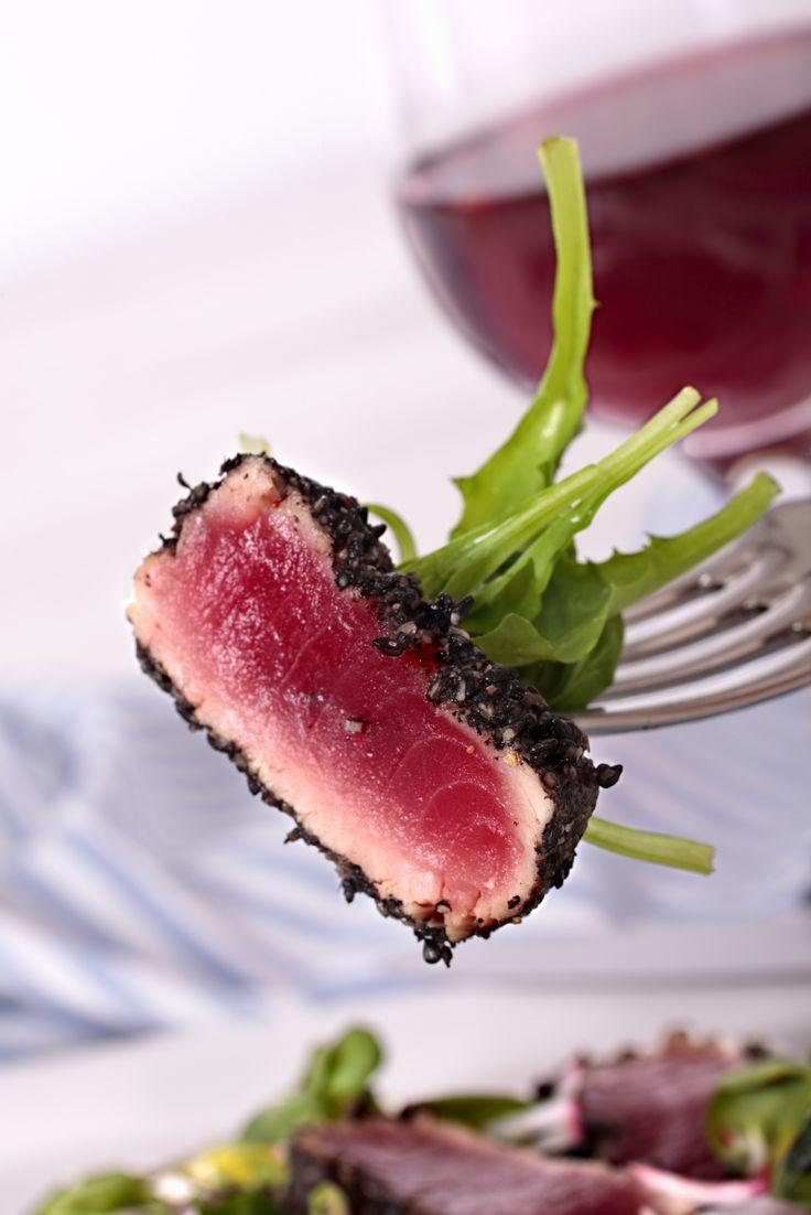 Blackened Tuna Bites with Green Onion Crema
