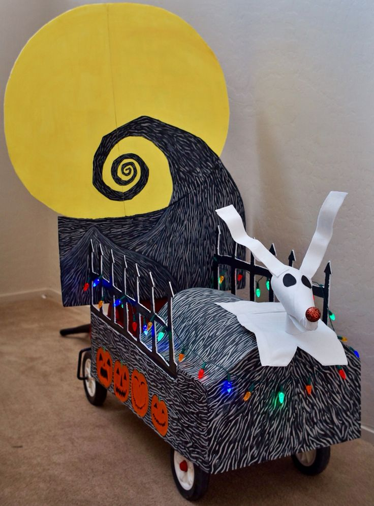 The wagon I decorated for our son who dressed up as Jack Skellington from The Nightmare Before Christmas for Halloween :)