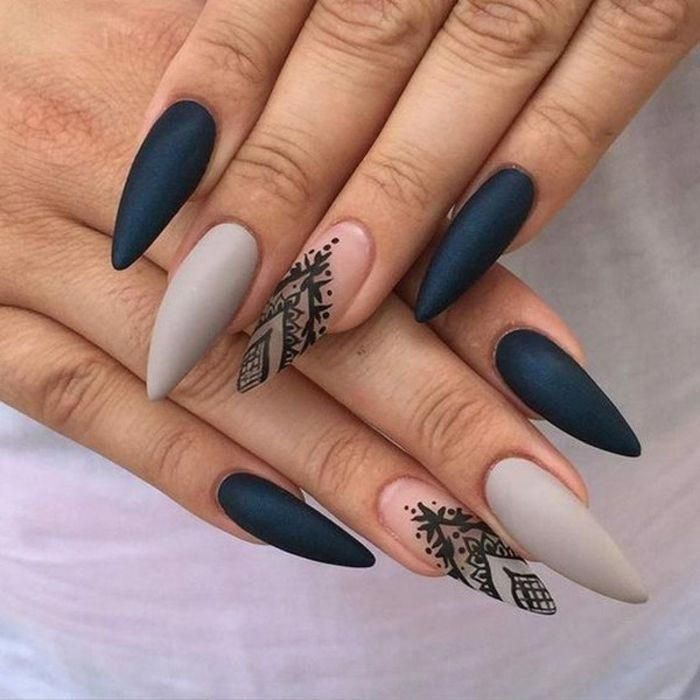 Grey Clear And Black Matte Nail Polish On Long Stiletto Nails