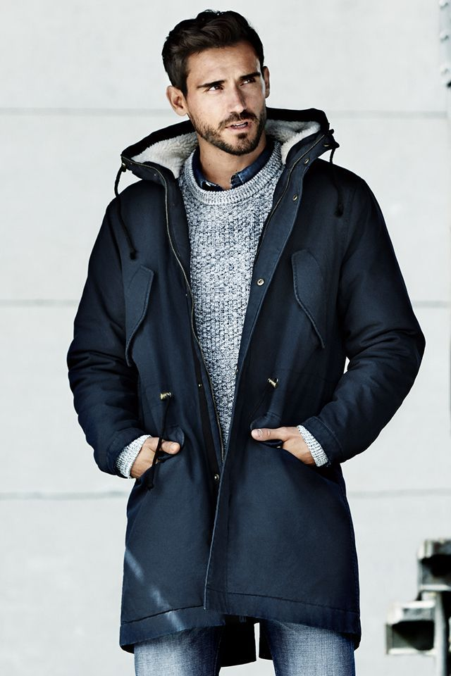 Mens Blue Parka Coat