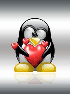 Fondos de corazones animados con pingüinitos.