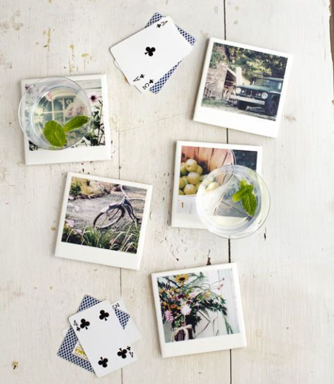 Refocus plain ceramic tiles as snappy coasters to use at a wedding reception. Use Polaroids or Instagram prints of you and the groom, family, or friends to let guests rest their drinks on fun photos as they wine and dine.  Get the complete how-to »