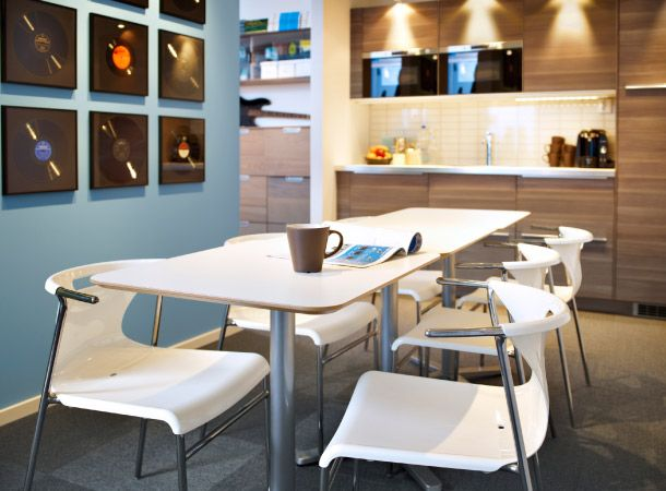 lunch room with billsta white table and elmer chairs in white