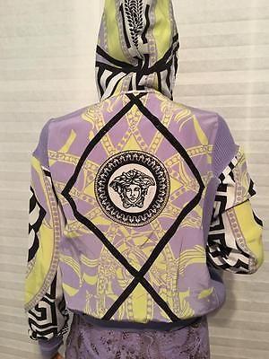$2875 NWT VERSACE Rhinestone Medusa Head Hooded Track Jacket Sweater sz 42