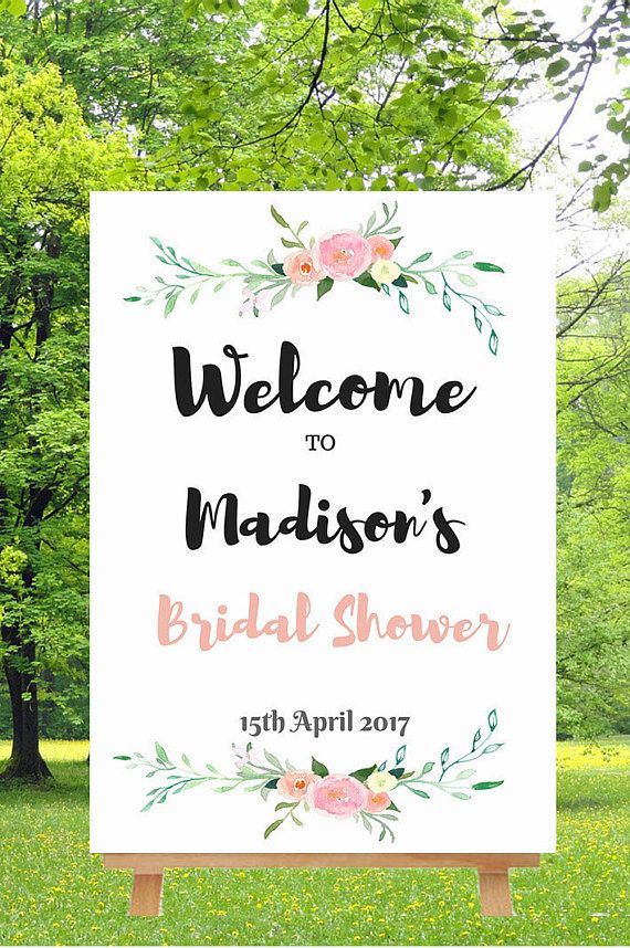 Bridal Shower Welcome Sign, Bridal Shower sign floral wedding, easy DYI printing.