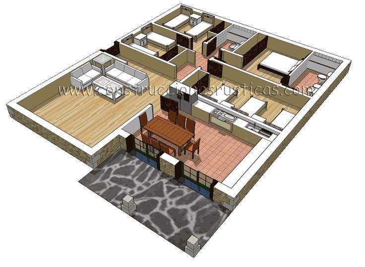 3d de distribuci n de casa r stica de piedra de 4 for Hacer casas en 3d online
