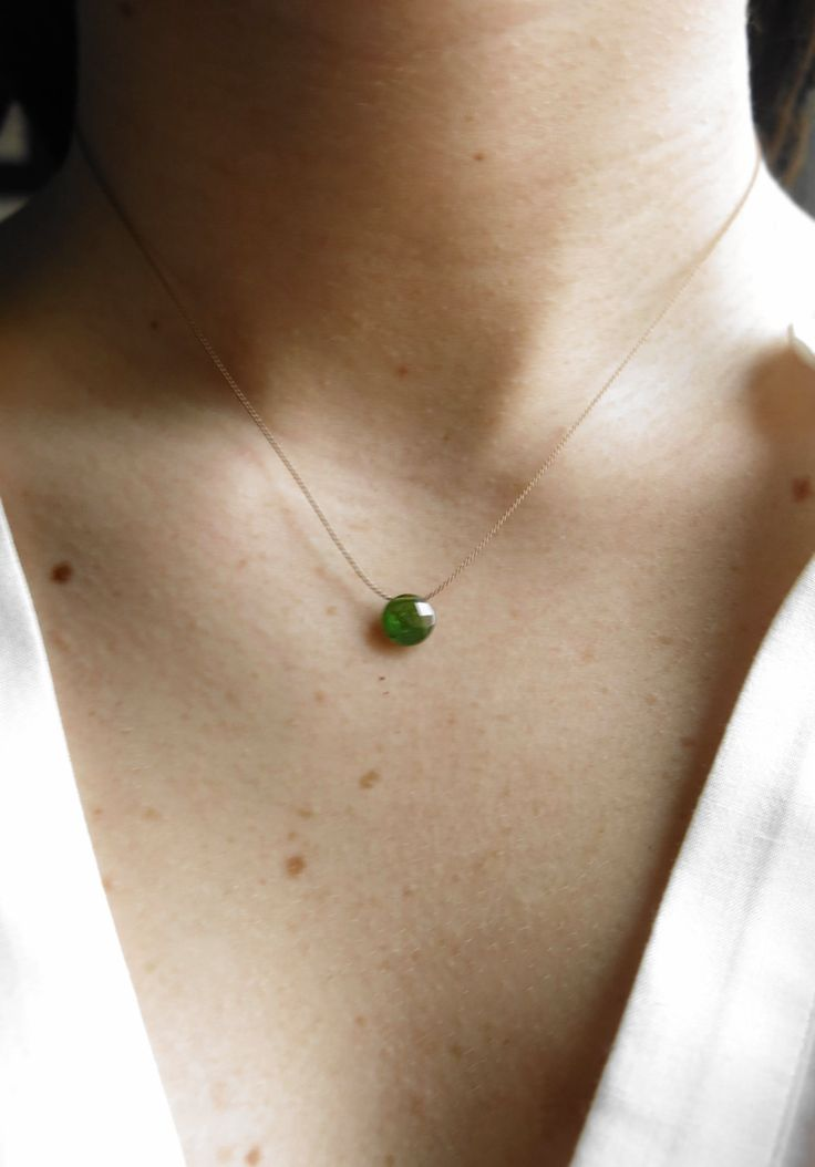Tourmaline necklace. Minimalist tourmaline necklace with  faceted olive green tourmaline briolette. Green tourmaline choker. (25.00 EUR) by MarisaBecca