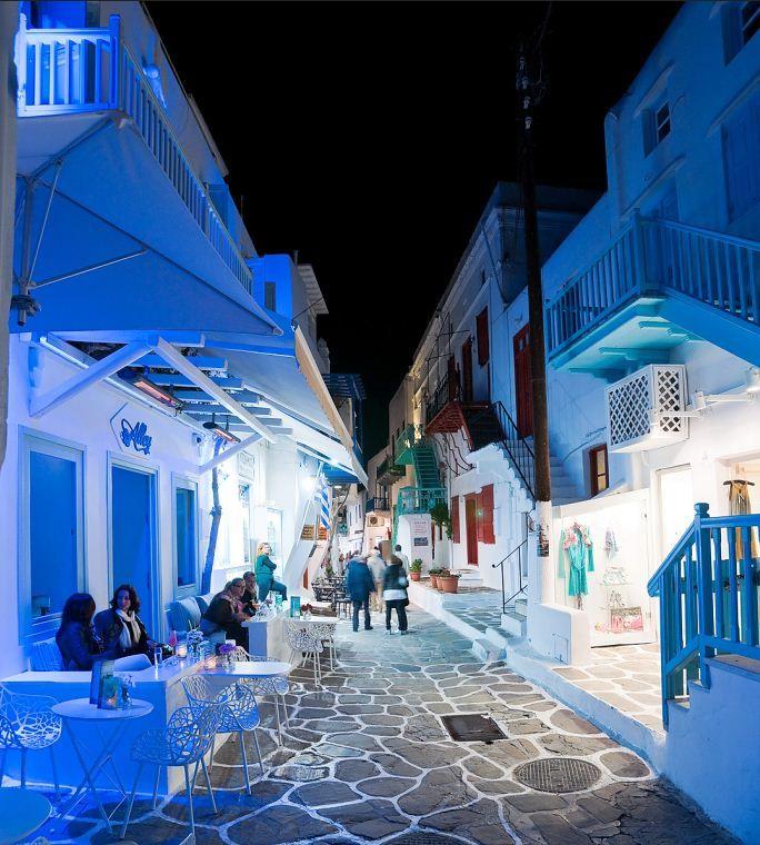 Nightlife on Mykonos streets, Greece (by basil mulyukin).