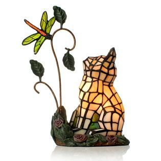 Tiffany Styled Handcrafted Cat & Dragonfly Novelty Lamp