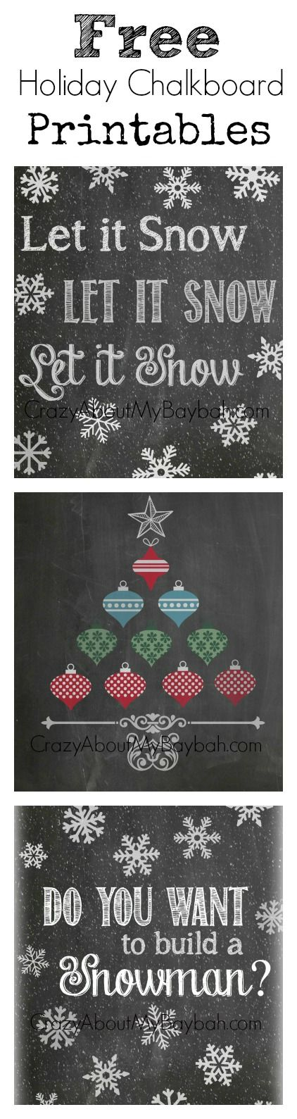 Free Holiday / Winter Chalkboard Printables