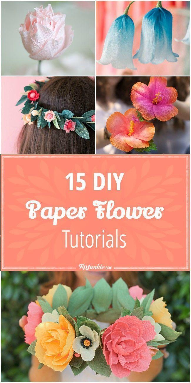 Fake flowers for crafts - 15 Diy Paper Flower Tutorials