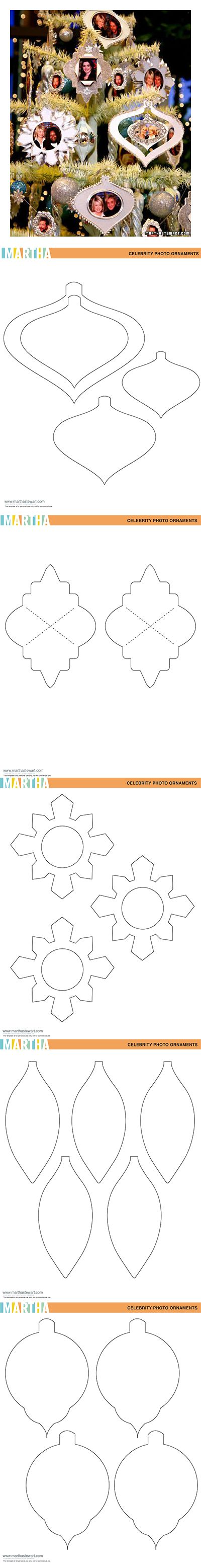 5 free ornament templates - Glittered paper frame ornaments - at Martha Stewart #Christmas #DIY