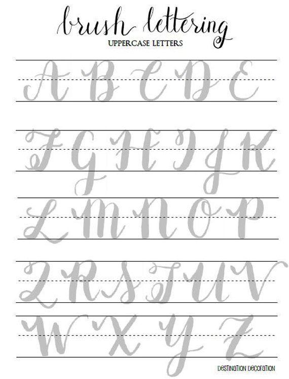 Brush Lettering Practice Worksheets Uppercase Letters Brush