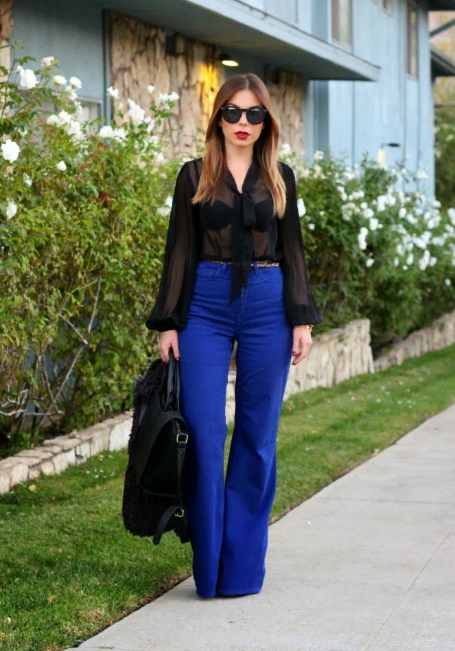 1000  images about Royal blue flare pants outfit - Look calça ...